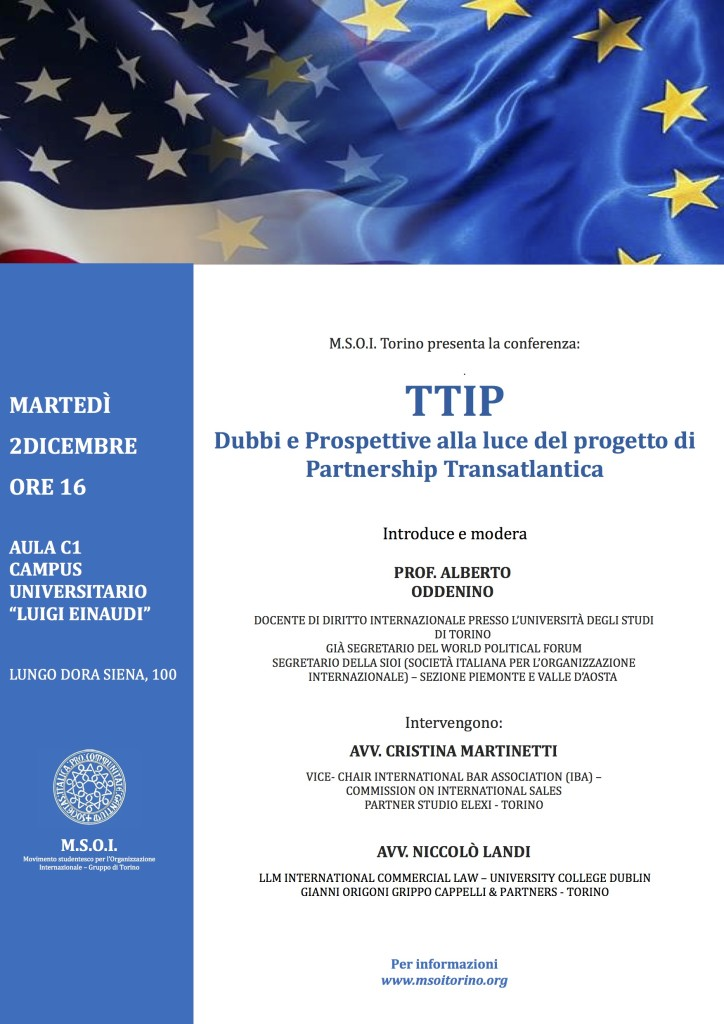 locandina conferenza TTIP